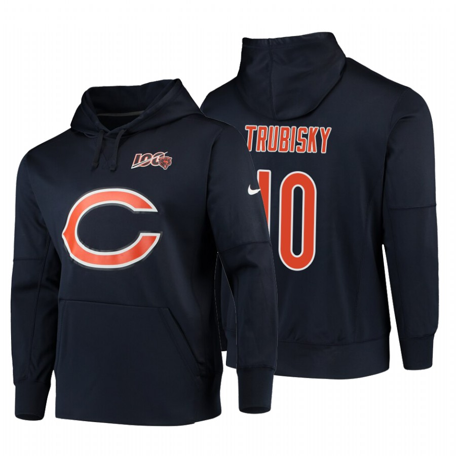 Chicago Bears #10 Mitchell Trubisky Nike NFL 100 Primary Logo Circuit Name & Number Pullover Hoodie Navy