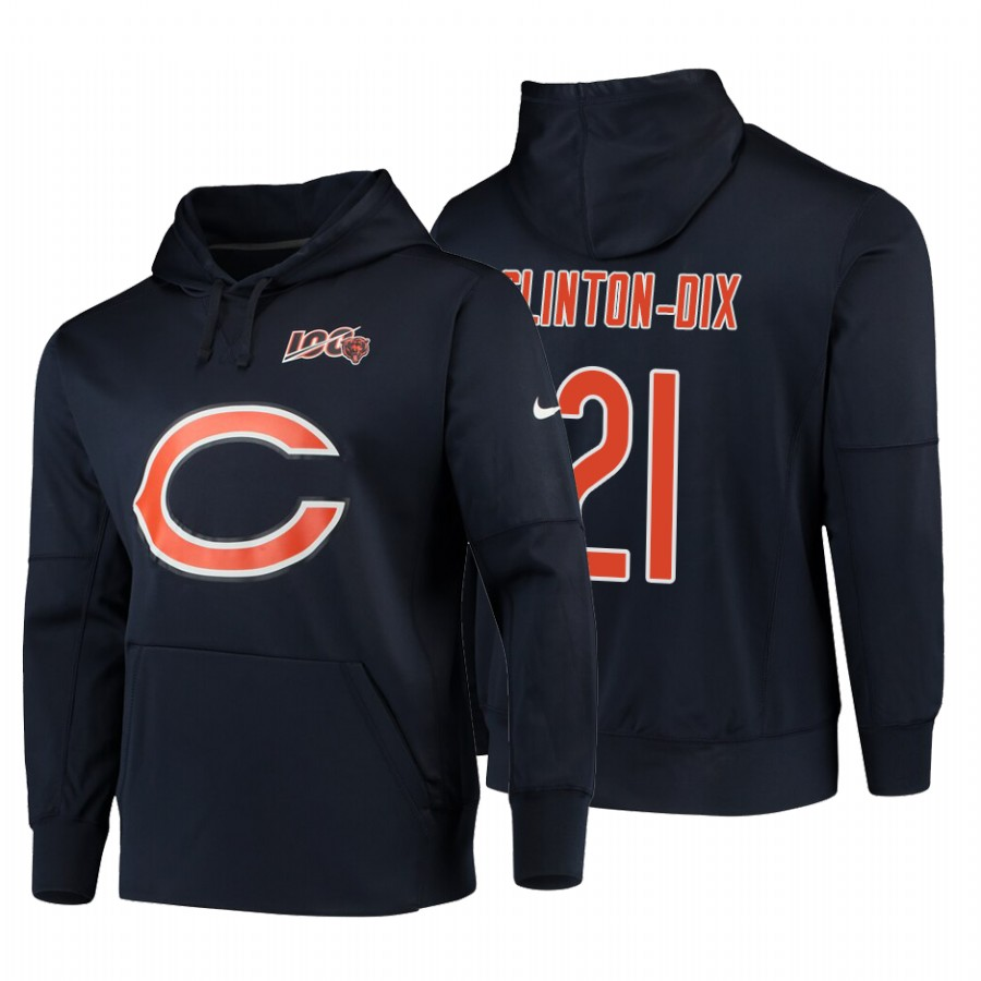 Chicago Bears #21 Ha Ha Clinton-Dix Nike NFL 100 Primary Logo Circuit Name & Number Pullover Hoodie Navy