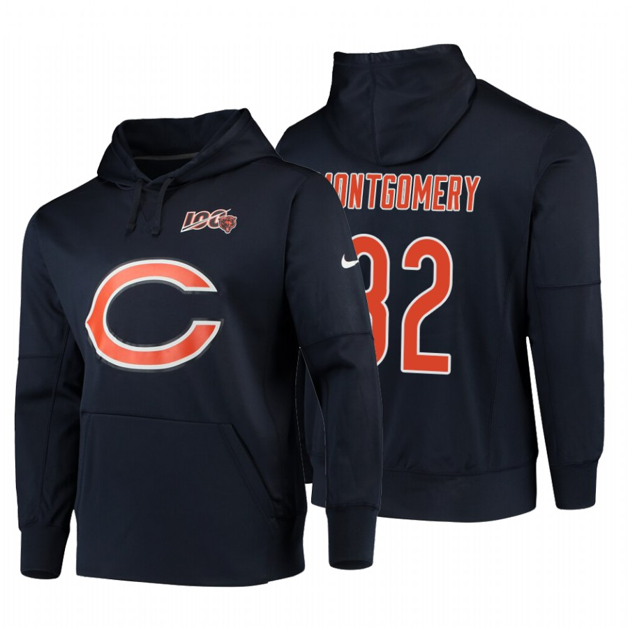Chicago Bears #32 David Montgomery Nike NFL 100 Primary Logo Circuit Name & Number Pullover Hoodie Navy