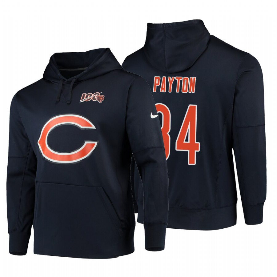 Chicago Bears #34 Walter Payton Nike NFL 100 Primary Logo Circuit Name & Number Pullover Hoodie Navy