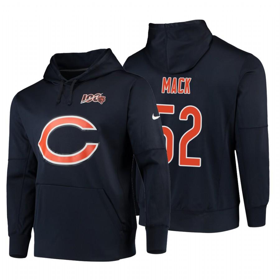 Chicago Bears #52 Khalil Mack Nike NFL 100 Primary Logo Circuit Name & Number Pullover Hoodie Navy