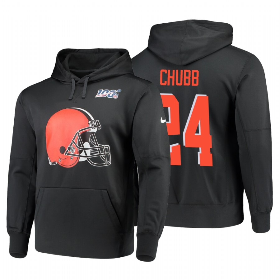Cleveland Browns #24 Nick Chubb Nike NFL 100 Primary Logo Circuit Name & Number Pullover Hoodie Anthracite