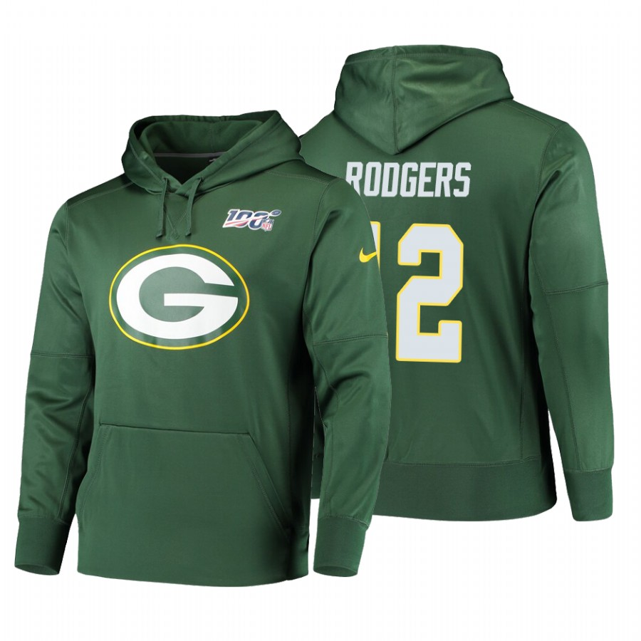 Green Bay Packers #12 Aaron Rodgers Nike NFL 100 Primary Logo Circuit Name & Number Pullover Hoodie Green