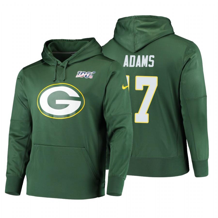 Green Bay Packers #17 Davante Adams Nike NFL 100 Primary Logo Circuit Name & Number Pullover Hoodie Green