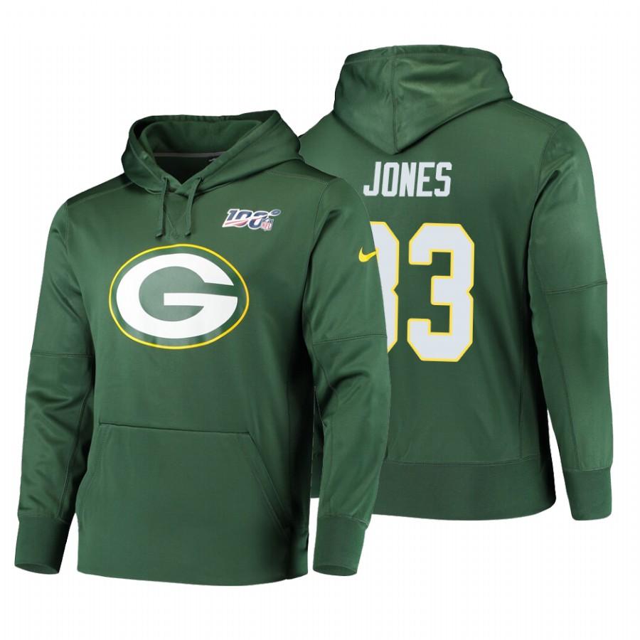 Green Bay Packers #33 Aaron Jones Nike NFL 100 Primary Logo Circuit Name & Number Pullover Hoodie Green