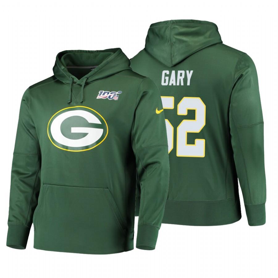 Green Bay Packers #52 Rashan Gary Nike NFL 100 Primary Logo Circuit Name & Number Pullover Hoodie Green
