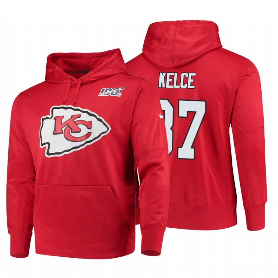 Kansas City Chiefs #87 Travis Kelce Nike NFL 100 Primary Logo Circuit Name & Number Pullover Hoodie Red