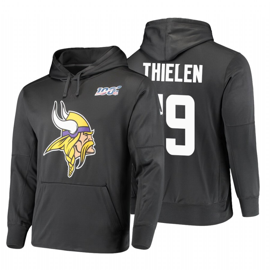 Minnesota Vikings #19 Adam Thielen Nike NFL 100 Primary Logo Circuit Name & Number Pullover Hoodie Anthracite