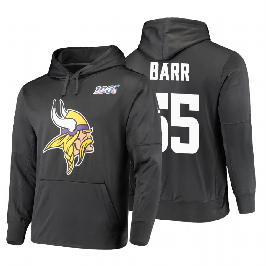 Minnesota Vikings #55 Anthony Barr Nike NFL 100 Primary Logo Circuit Name & Number Pullover Hoodie Anthracite