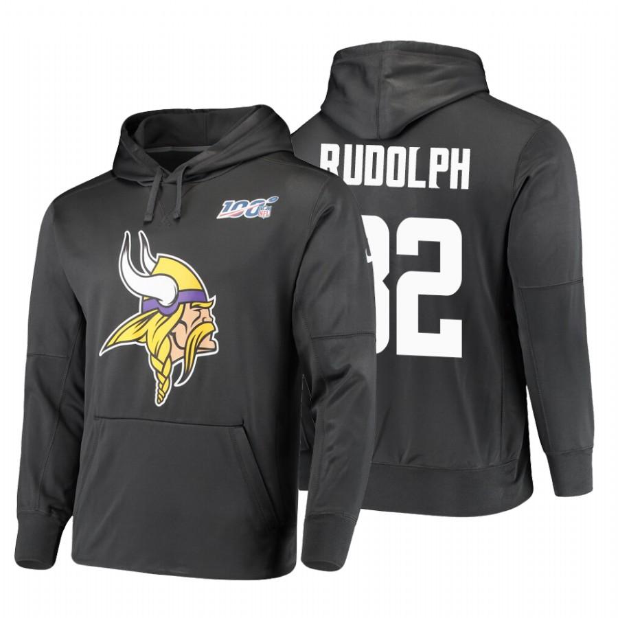 Minnesota Vikings #82 Kyle Rudolph Nike NFL 100 Primary Logo Circuit Name & Number Pullover Hoodie Anthracite