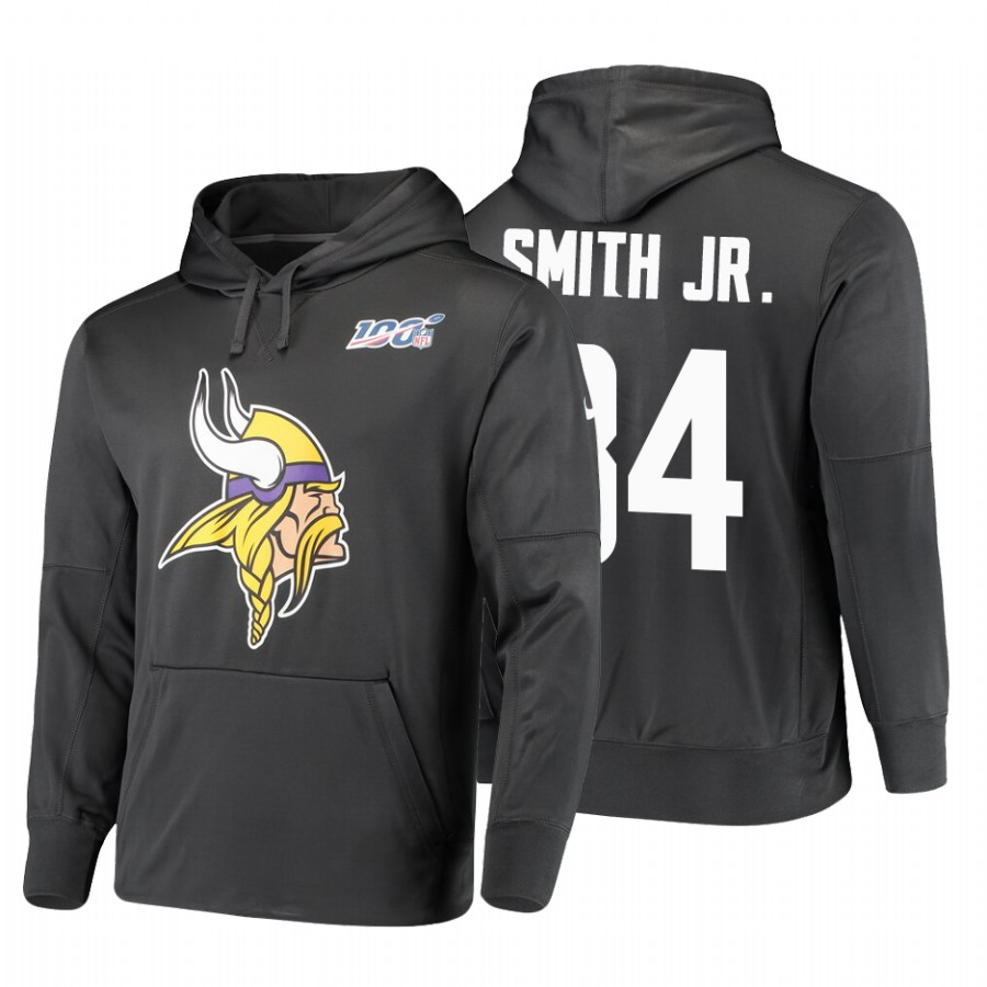 Minnesota Vikings #84 Irv Smith Jr. Nike NFL 100 Primary Logo Circuit Name & Number Pullover Hoodie Anthracite