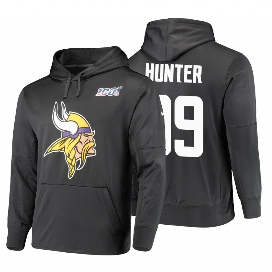 Minnesota Vikings #99 Danielle Hunter Nike NFL 100 Primary Logo Circuit Name & Number Pullover Hoodie Anthracite
