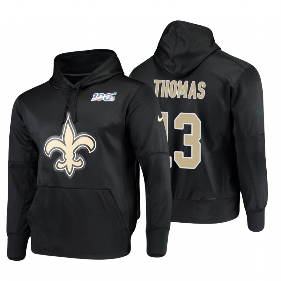 New Orleans Saints #13 Michael Thomas Nike NFL 100 Primary Logo Circuit Name & Number Pullover Hoodie Black