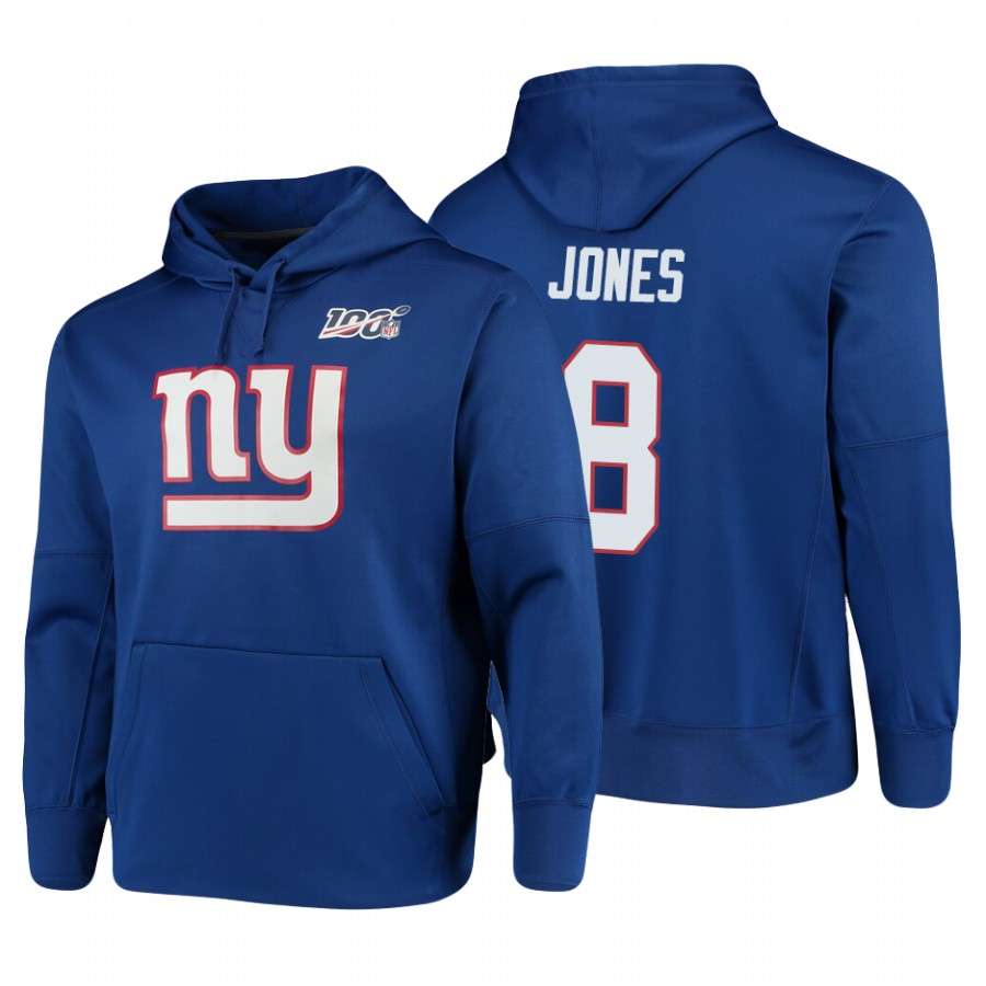New York Giants #8 Daniel Jones Nike NFL 100 Primary Logo Circuit Name & Number Pullover Hoodie Royal