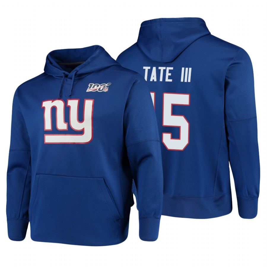 New York Giants #15 Golden Tate III Nike NFL 100 Primary Logo Circuit Name & Number Pullover Hoodie Royal