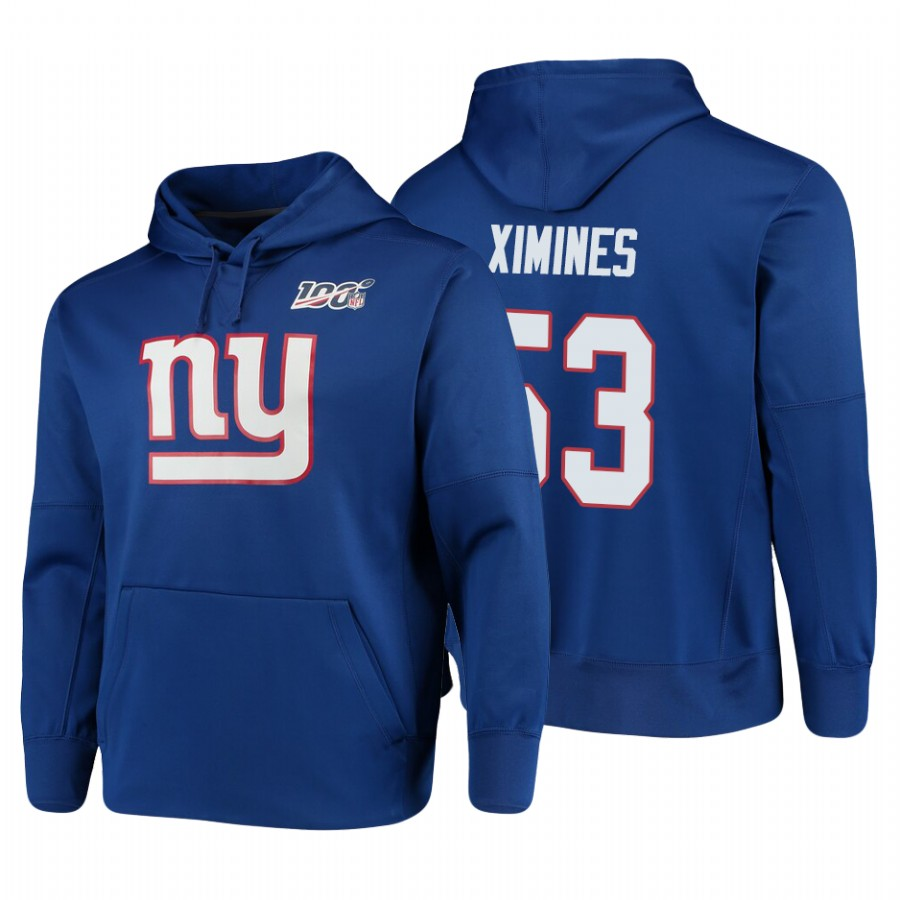 New York Giants #53 Oshane Ximines Nike NFL 100 Primary Logo Circuit Name & Number Pullover Hoodie Royal