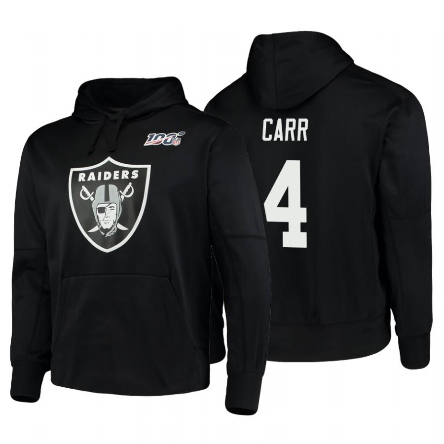 Oakland Raiders #4 Derek Carr Nike NFL 100 Primary Logo Circuit Name & Number Pullover Hoodie Black