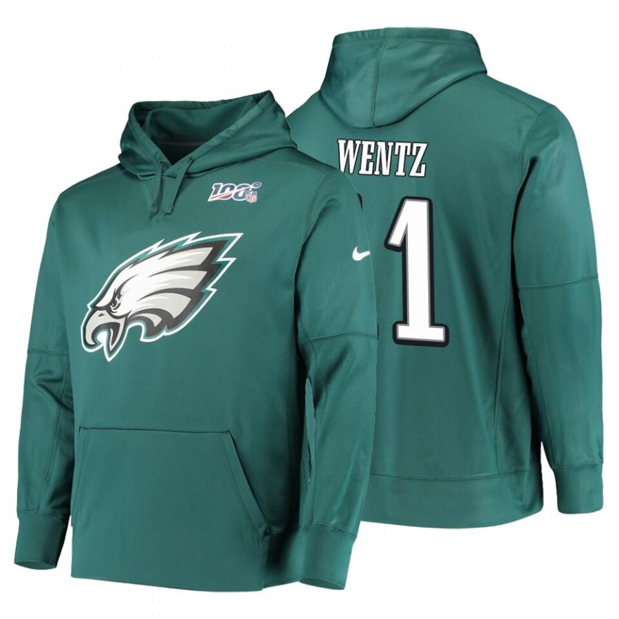 Philadelphia Eagles #11 Carson Wentz Nike NFL 100 Primary Logo Circuit Name & Number Pullover Hoodie Midnight Green