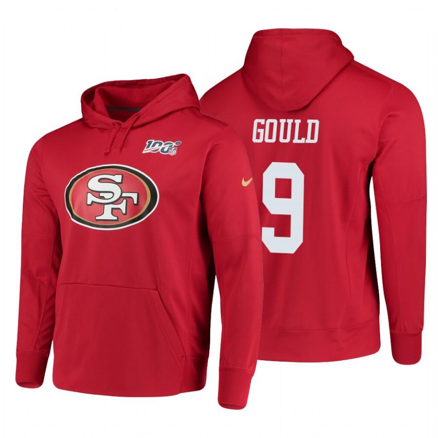 San Francisco 49ers #9 Robbie Gould Nike NFL 100 Primary Logo Circuit Name & Number Pullover Hoodie Scarlet