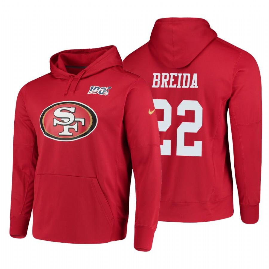 San Francisco 49ers #22 Matt Breida Nike NFL 100 Primary Logo Circuit Name & Number Pullover Hoodie Scarlet
