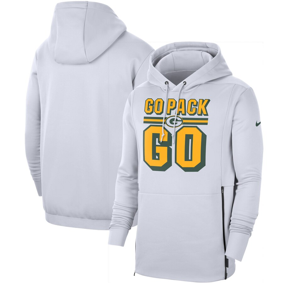 Green Bay Packers Nike Sideline Local Performance Pullover Hoodie White