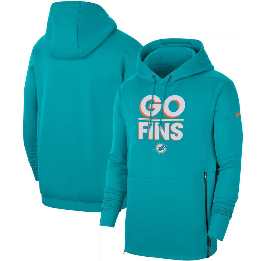 Miami Dolphins Nike Sideline Local Performance Pullover Hoodie Aqua