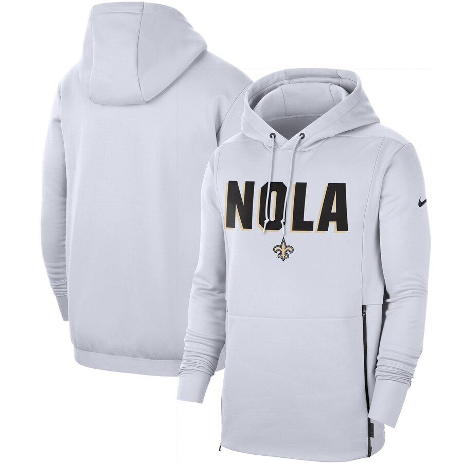 New Orleans Saints Nike Sideline Local Performance Pullover Hoodie White