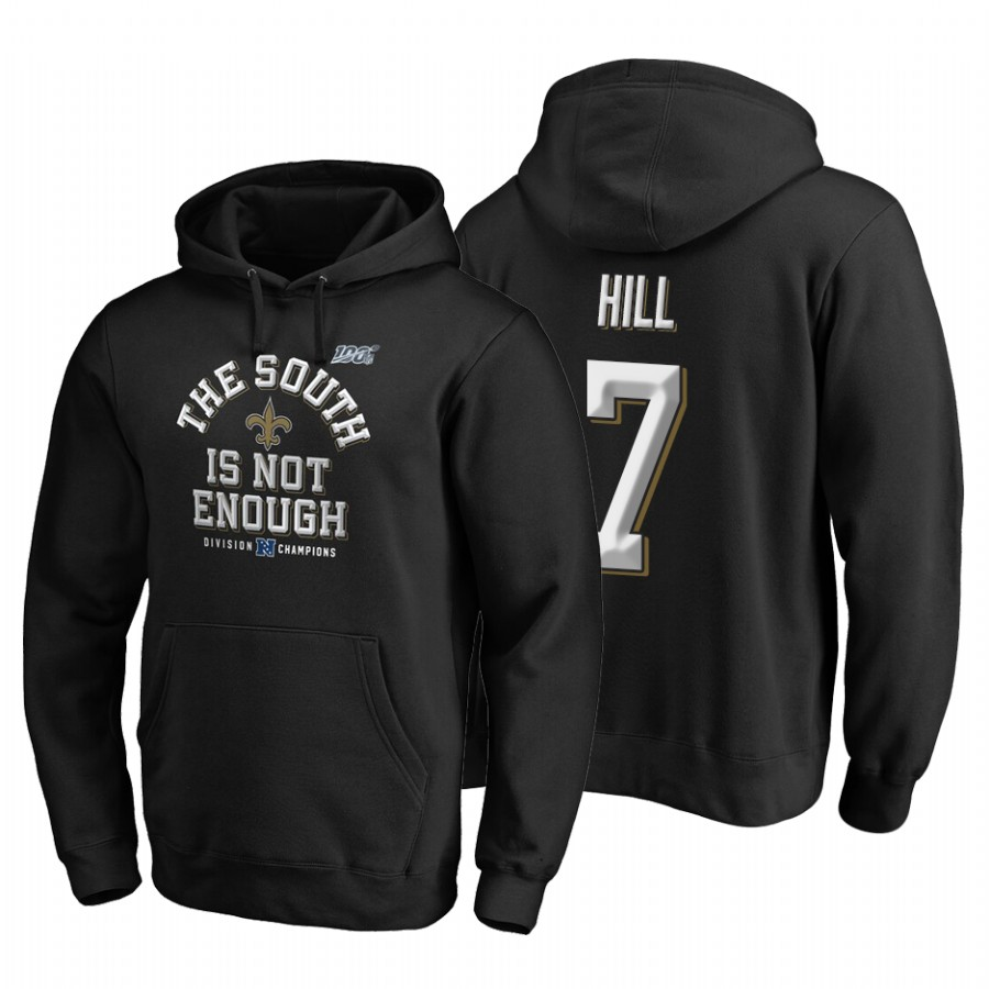 New Orleans Saints #7 Taysom Hill 2019 NFC South Division Champions Black Cover Two Hoodie
