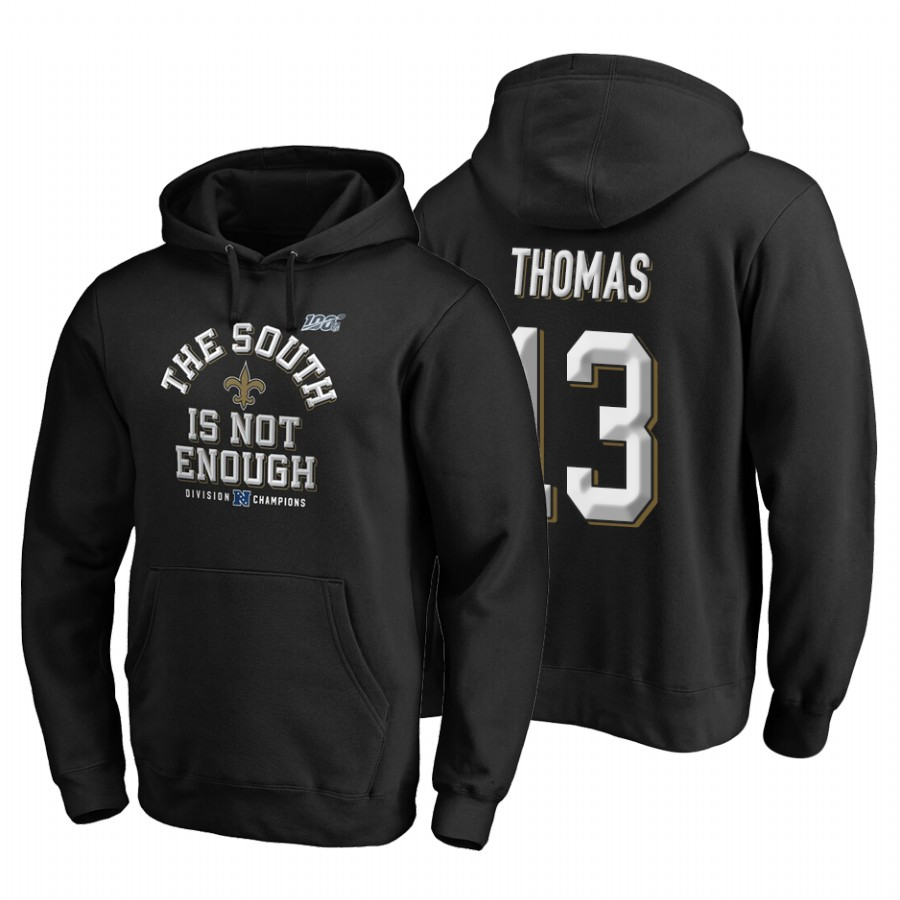 New Orleans Saints #13 Michael Thomas 2019 NFC South Division Champions Black Cover Two Hoodie
