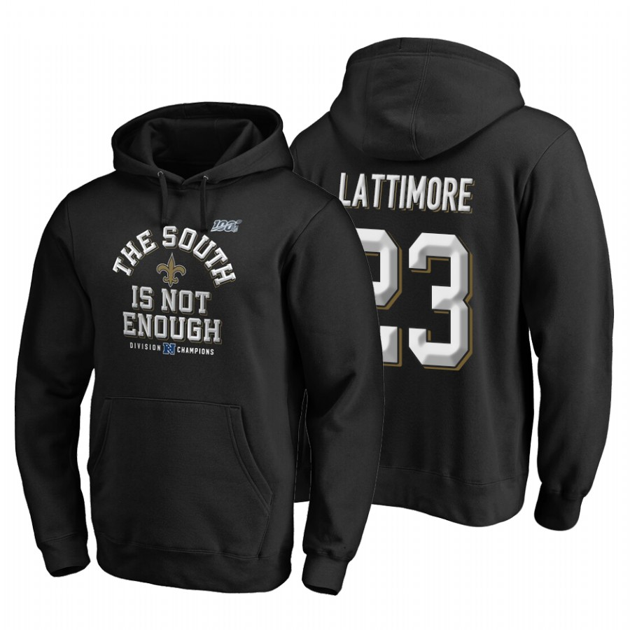 New Orleans Saints #23 Marshon Lattimore 2019 NFC South Division Champions Black Cover Two Hoodie