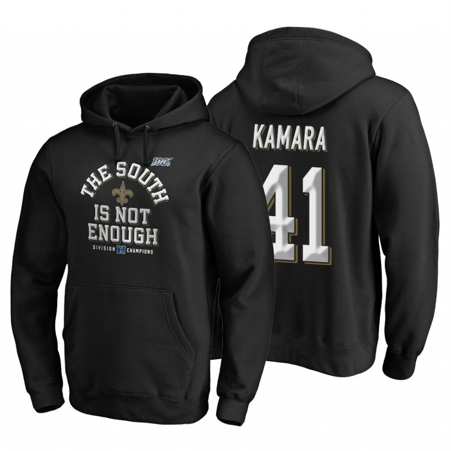 New Orleans Saints #41 Alvin Kamara 2019 NFC South Division Champions Black Cover Two Hoodie