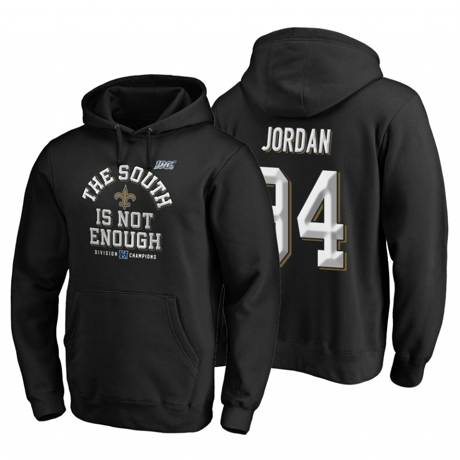 New Orleans Saints #94 Cameron Jordan 2019 NFC South Division Champions Black Cover Two Hoodie