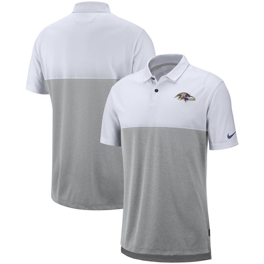 Baltimore Ravens Nike Sideline Early Season Performance Polo White Gray