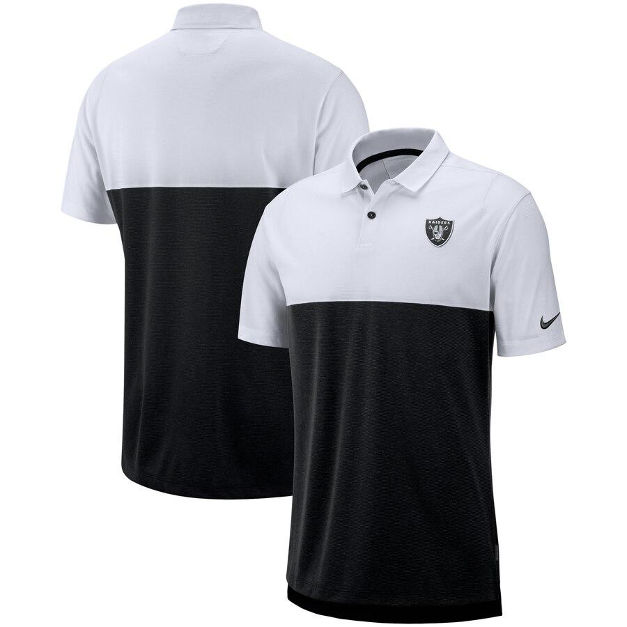 Oakland Raiders Nike Sideline Early Season Performance Polo White Black