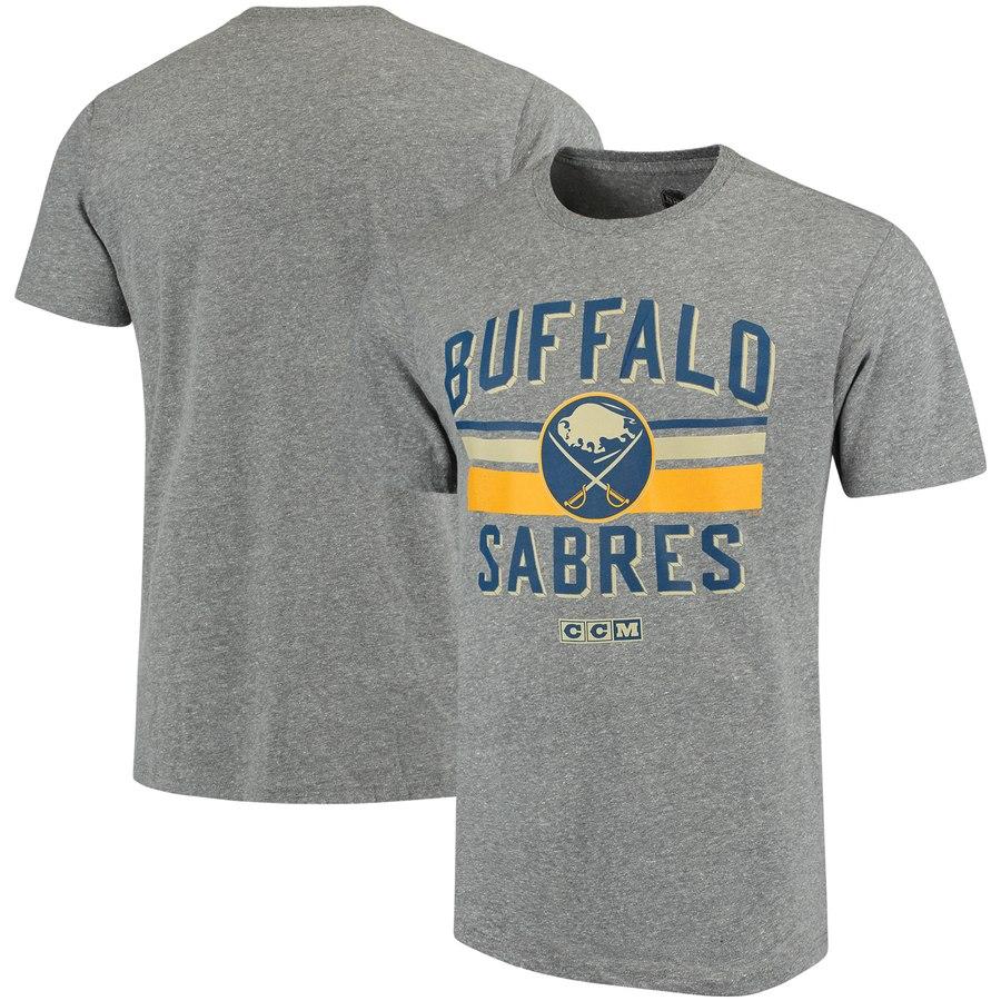 Buffalo Sabres CCM Classic Stripe Tri-Blend T-Shirt Gray