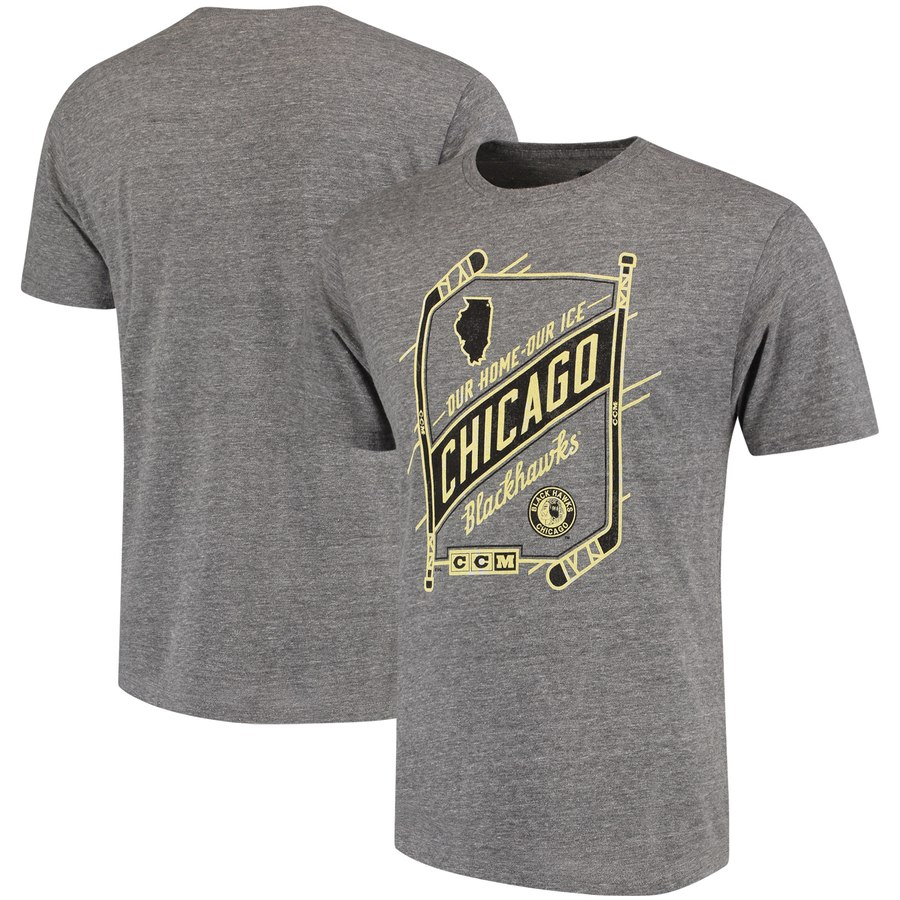 Chicago Blackhawks CCM Our Home Our Ice Tri-Blend T-Shirt Gray