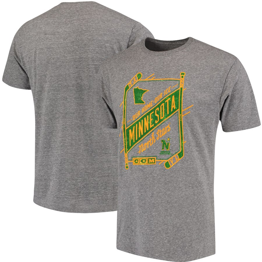 Minnesota North Stars CCM Our Home Our Ice Tri-Blend T-Shirt Gray