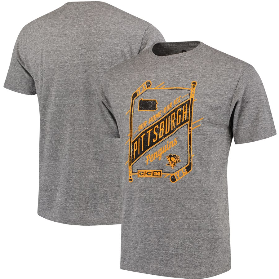 Pittsburgh Penguins CCM Our Home Our Ice Tri-Blend T-Shirt Gray