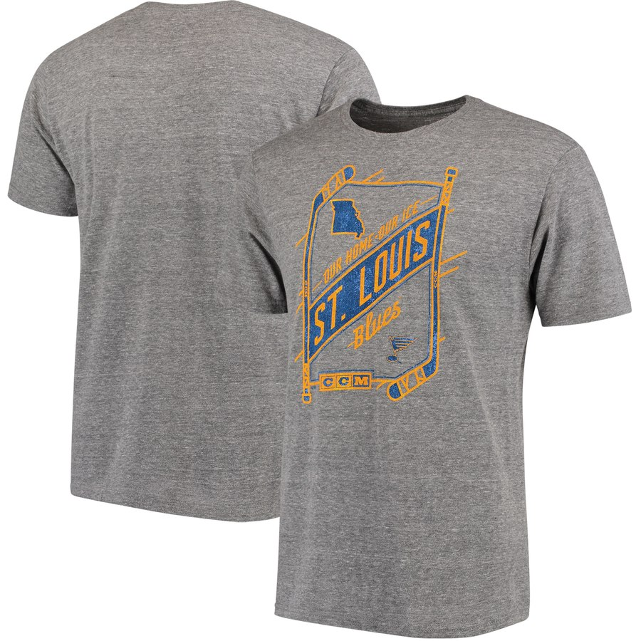 St. Louis Blues CCM Our Home Our Ice Tri-Blend T-Shirt Gray