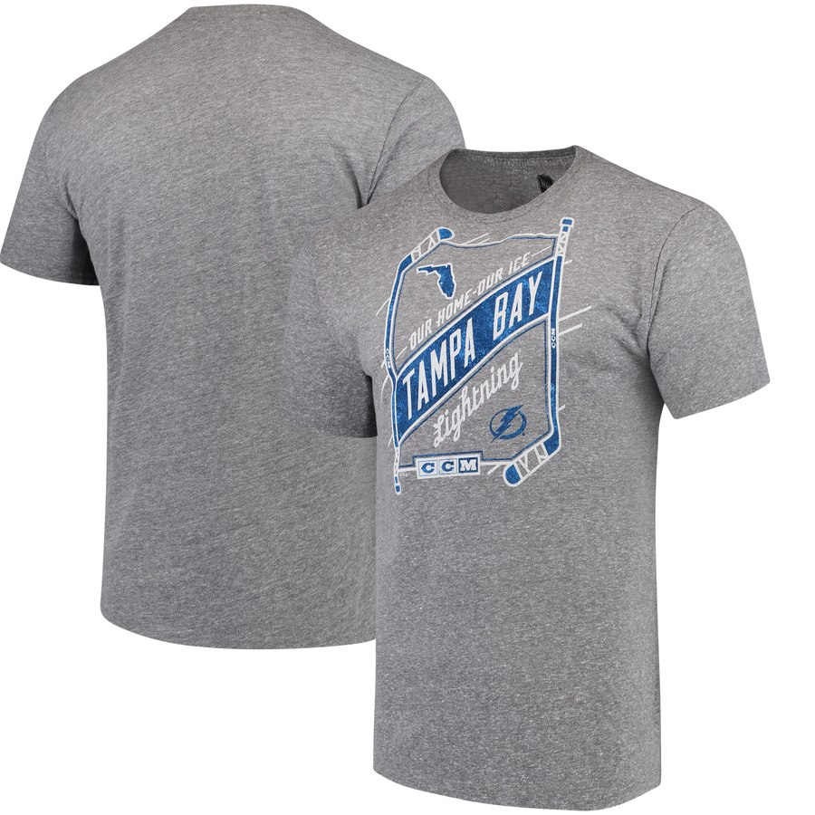 Tampa Bay Lightning CCM Our Home Our Ice Tri-Blend T-Shirt Gray