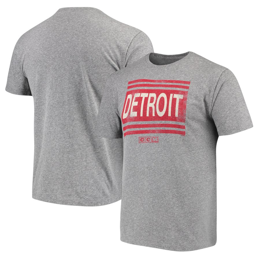 Detroit Red Wings adidas Heritage Logo Series Tri-Blend T-Shirt Gray