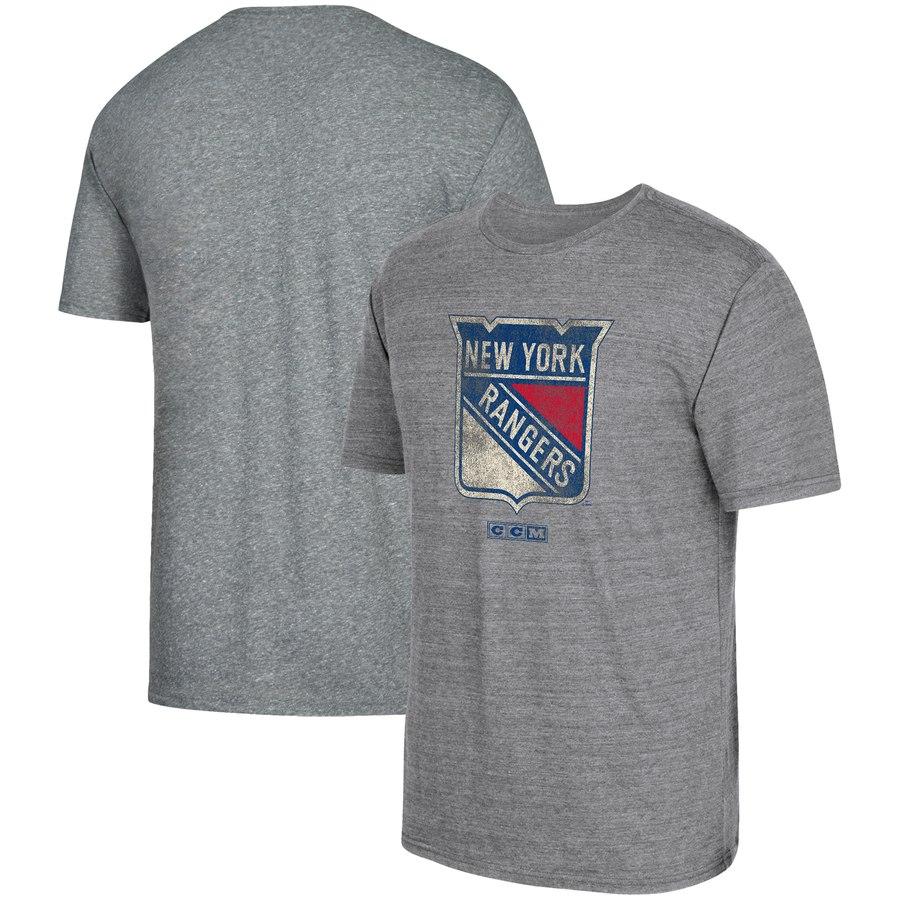 New York Rangers adidas Heritage Logo Series Tri-Blend T-Shirt Gray