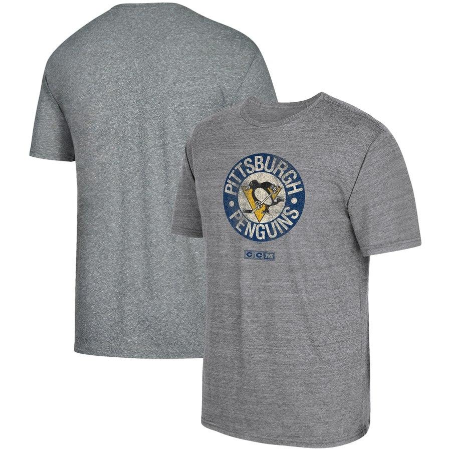 Pittsburgh Penguins adidas Heritage Logo Series Tri-Blend T-Shirt Gray