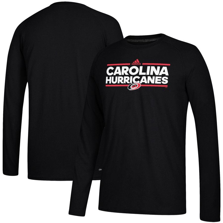 Carolina Hurricanes adidas Dassler climalite Long Sleeve Raglan T-Shirt Black