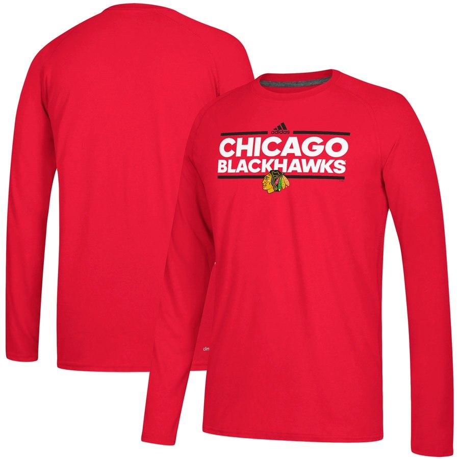 Chicago Blackhawks adidas Dassler climalite Long Sleeve Raglan T-Shirt Red