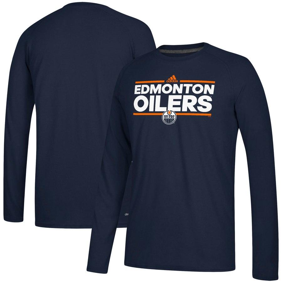 Edmonton Oilers adidas Dassler climalite Long Sleeve Raglan T-Shirt Navy