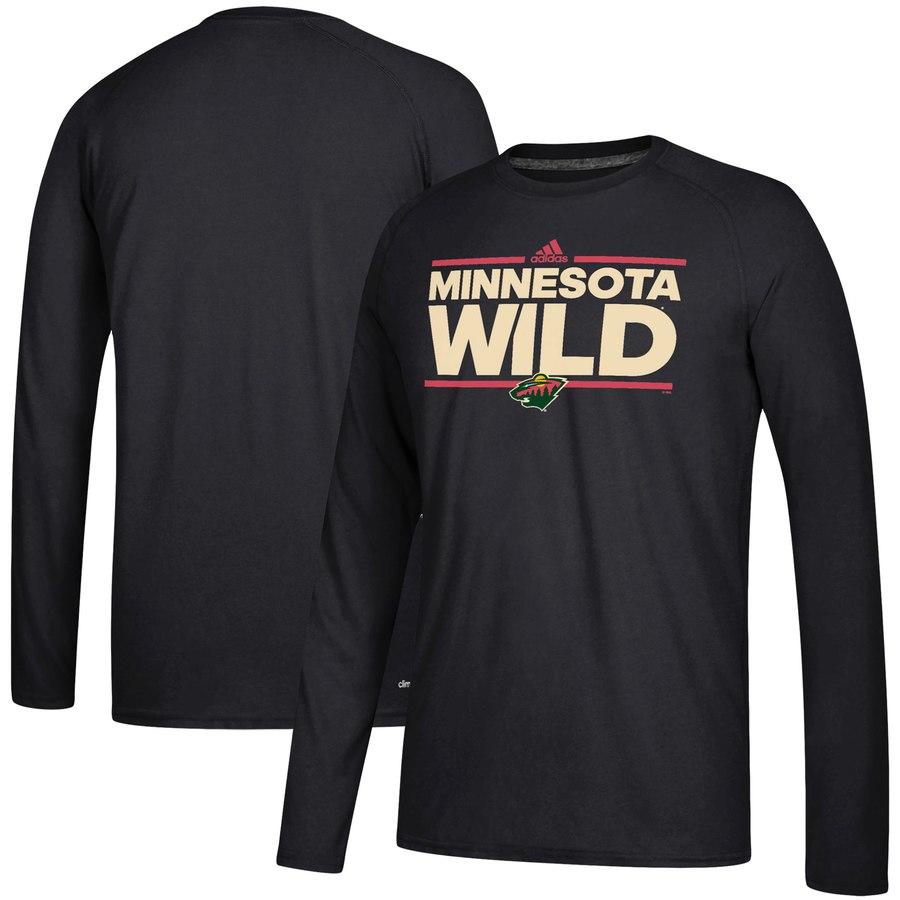Minnesota Wild adidas Dassler climalite Long Sleeve Raglan T-Shirt Black