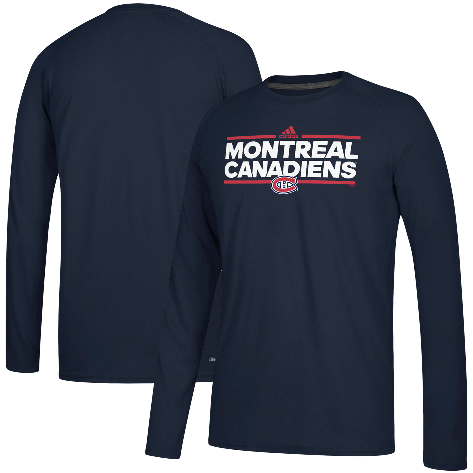 Montreal Canadiens adidas Dassler climalite Long Sleeve Raglan T-Shirt Navy