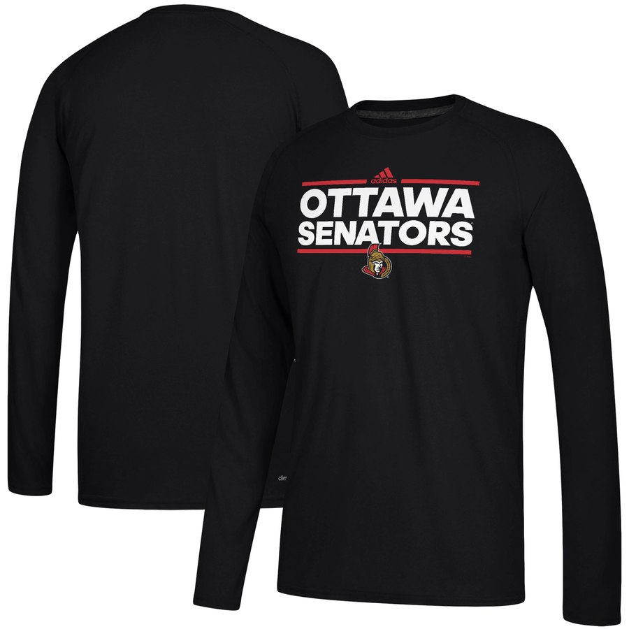 Ottawa Senators adidas Dassler climalite Long Sleeve Raglan T-Shirt Black