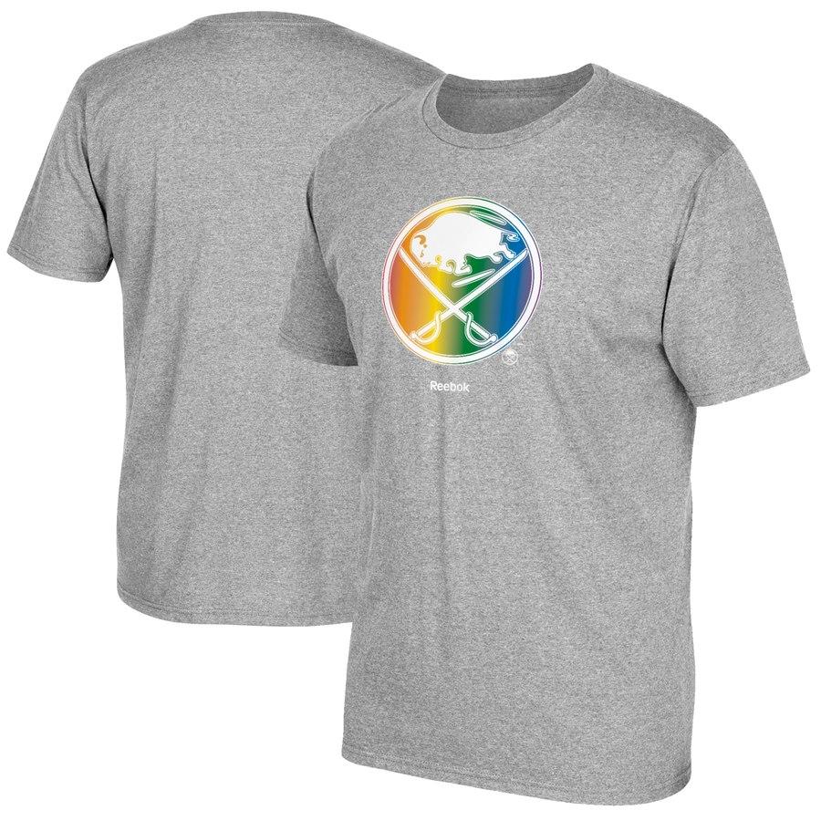 Buffalo Sabres Reebok Rainbow Pride T-Shirt Gray